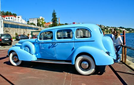 Old classical blue car near Douro river, Portugal