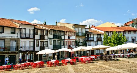 Medieval Santiago square in old town of Guimaraes, Portugal