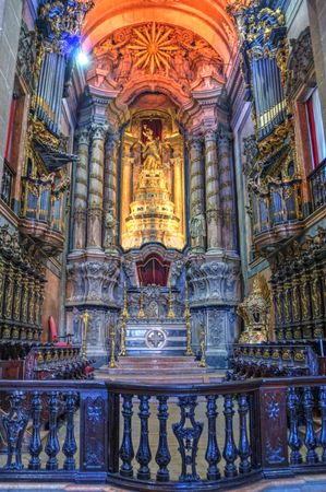 Main Chapel of the Clerigos Church in Oporto, Portugal Editorial