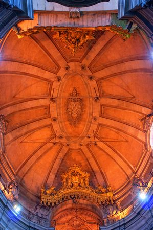Ceiling of the church of the Clerigos in Oporto, Portugal Editorial