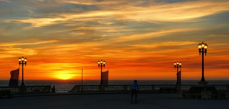 Beach sunset with lamps in Oporto,  north of Portugal Banco de Imagens - 122108736