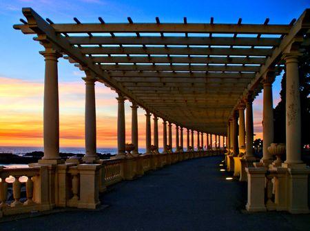Coastal way sunset with Pergola at Foz do Douro, Oporto, Portugal Banco de Imagens - 122108743