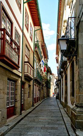 Old street Santa Maria in Guimaraes, Portugal