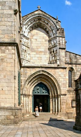Facade of Our Lady of Oliveira church in Guimaraes, Portugal