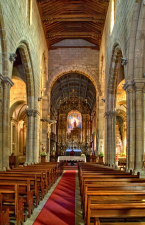 Inside of Our Lady of Oliveira church in Guimaraes, Portugal