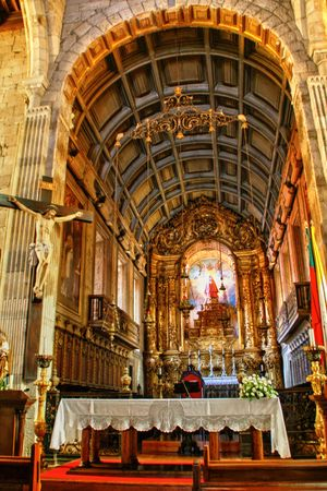 Main chapel of Our Lady of Oliveira church in Guimaraes, Portugal
