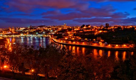Douro river night view in Porto, Portugal