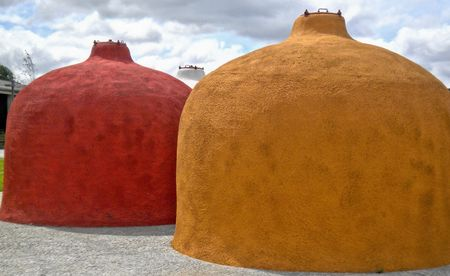 Colorful wine tanks in Portugal