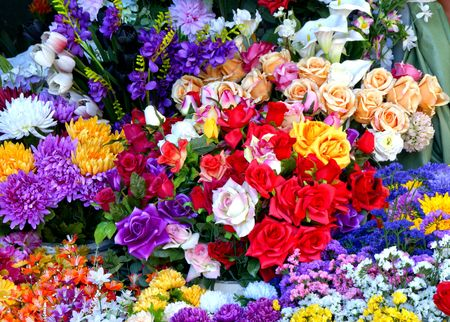 Flowers in Bolhao market in Oporto, Portugal