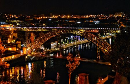 Night view of Luis I bridge in Oporto, Portugal