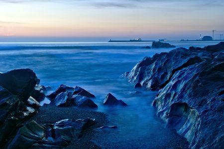 Beach sunset in Oporto, north of Portugal Banco de Imagens - 122108576