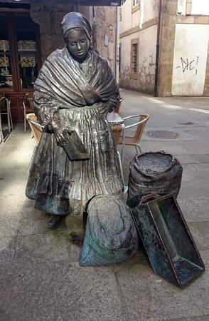 Street sculpture in Padron, Galicia, Spain