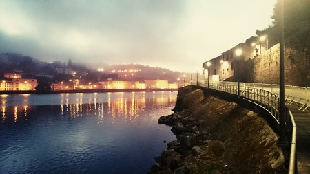 Douro river in the morning mist, Oporto, portugal