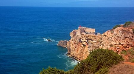 Nazareth lighthouse in Portugal Banco de Imagens
