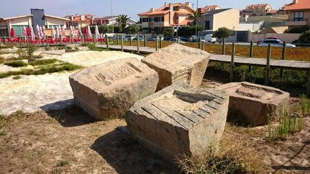 Roman tanks for Fish Santing in Angeiras, Portugal Banco de Imagens - 128074716