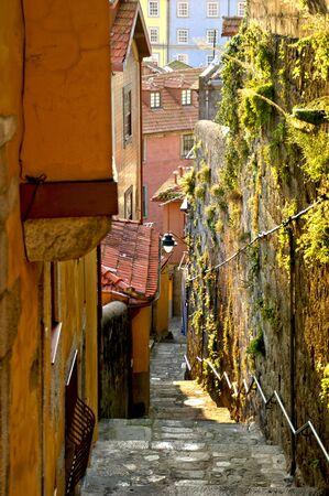 Old street of Barredo in Oporto, Portugal Banco de Imagens - 128074721