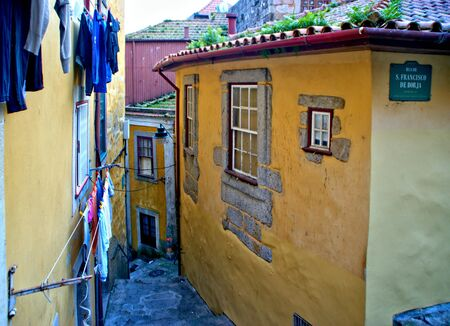 Old street of Barredo in Oporto, Portugal Banco de Imagens - 128074717