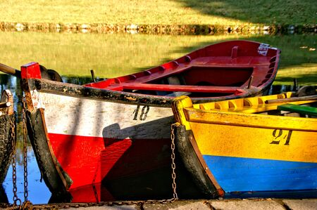 Lake boats on park of Bom Jesus in Braga (Portugal) World Heritage Banco de Imagens - 128074754
