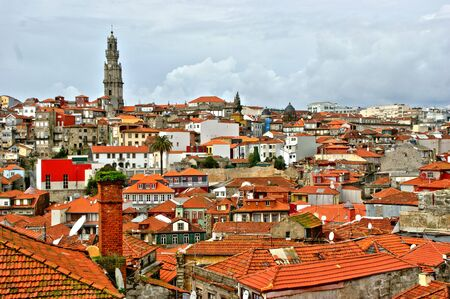 Panoramic view of the rooftops of Porto, Portugal Banco de Imagens