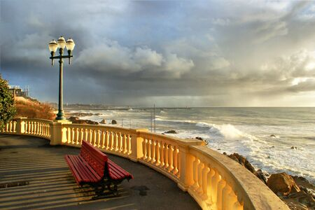 Coastal way with balcony at Foz do Douro, Oporto, Portugal Banco de Imagens