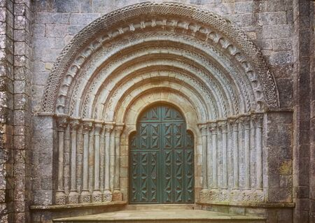 Romanesque portal of the Monastery of Armenteira in Galicia, Spain Banco de Imagens