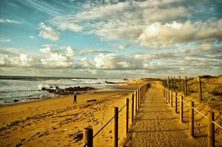 Beach walkways after storm in Portugal Banco de Imagens - 128074890