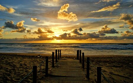 Sunset in walkway after storm in Portugal Banco de Imagens