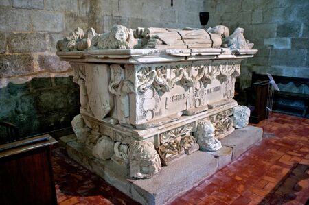 Old tomb of a nobleman of the Middle Ages, in Vila do Conde, Portugal