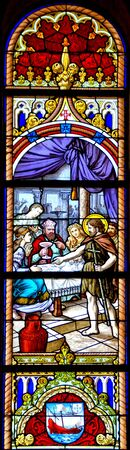 Stained Glass Mother church of Vila do Conde in Portugal Banco de Imagens - 128074936