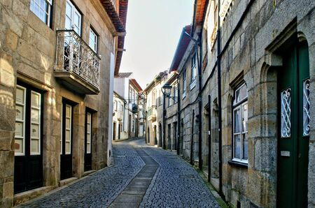 Old church street in Vila do Conde, Portugal