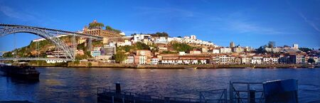 Panoramic view of Douro river near Ribeira in Oporto, Portugal
