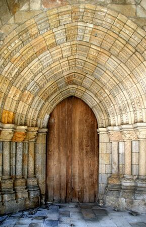 Gothic door in Viseu Cathedral, Portugal