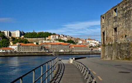Gaia quay waterfront overlooking Porto, Portugal Stock Photo