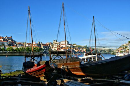 Traditional boat building yard for Douro river, Portugal Banco de Imagens - 132172820