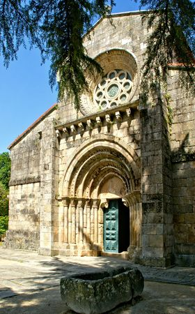 Detail of Romanesque monastery of Paco de Sousa in Penafiel, Portugal