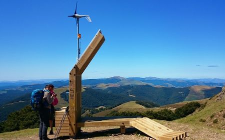 Internet help station at the highest point of the Atlantic Pyrenees, on the French way to Santiago, France Stock Photo - 132892340