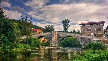 Anger Bridge at Zubiri on the Camino de Santiago in Navarre, Spain Stock Photo - 138386322