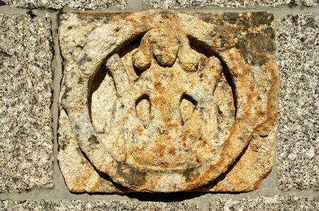 Sculptural detail of romanesque church of Aroes (Sao Romao) in Fafe, Portugal Banco de Imagens - 138386169