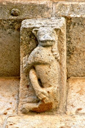 Sculptural detail of romanesque church of Aroes (Sao Romao) in Fafe, Portugal