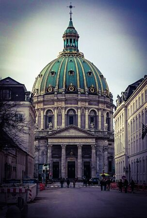 Marmorkirken baroque church In Copenhagen, Denmark