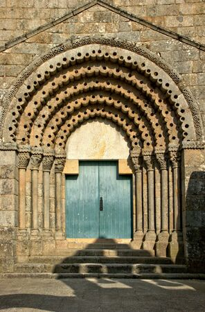Doorway of romanesque monastery of Sao Pedro de Ferreira in Portugal
