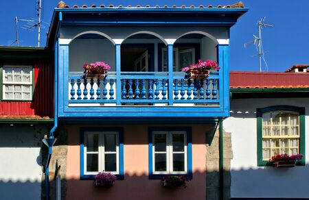 Colorful houses in the historical center of Chaves, Portugal Stock Photo