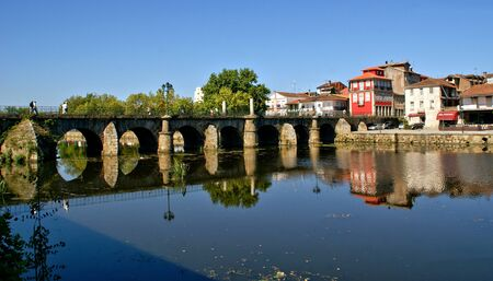 Roman bridge of Trajano in Chaves, Portugal Stock Photo