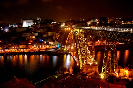 Dom Luis bridge over Douro river at night in Porto, Portugal