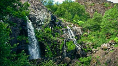 View of Cascada de Sotillo Waterfall in Sanabria, Zamora, Spain Banco de Imagens - 143700245
