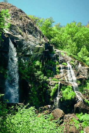 View of Cascada de Sotillo Waterfall in Sanabria, Zamora, Spain