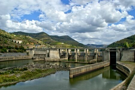 Douro Valley hydroelectric dam in Portugal Stock Photo