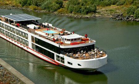 Cruise ship at Douro Valley, Portugal Banco de Imagens