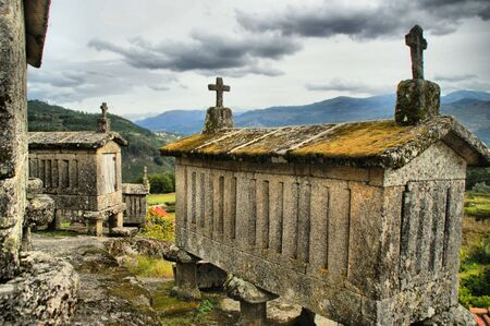 Ancient stone corn driers in Soajo, Portugal Stock Photo