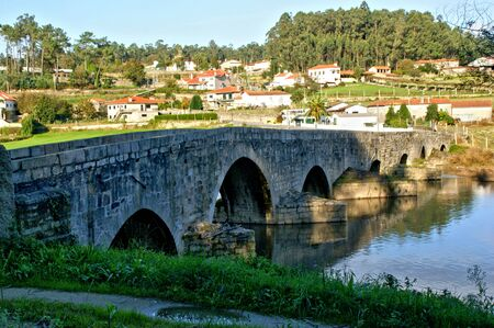 Medieval bridge of Dom Zameiro on the Ave river, Portugal
